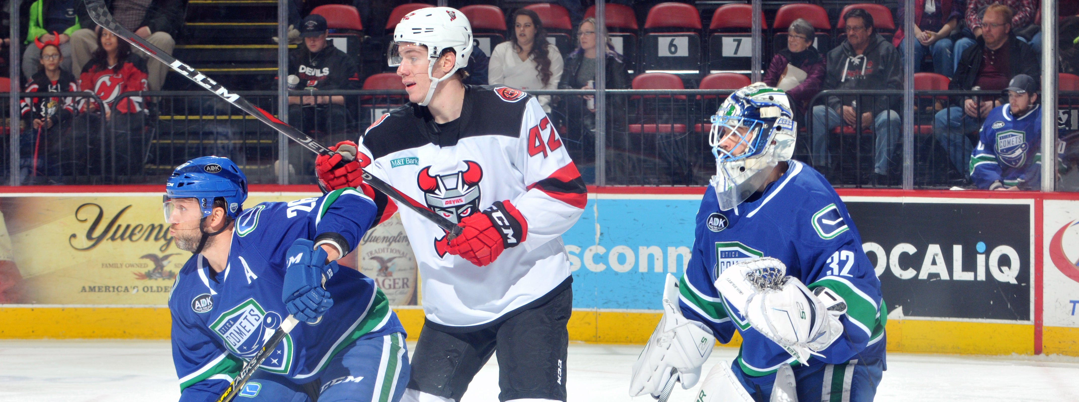 COMETS ERUPT FOR SEVEN GOALS IN WIN OVER DEVILS
