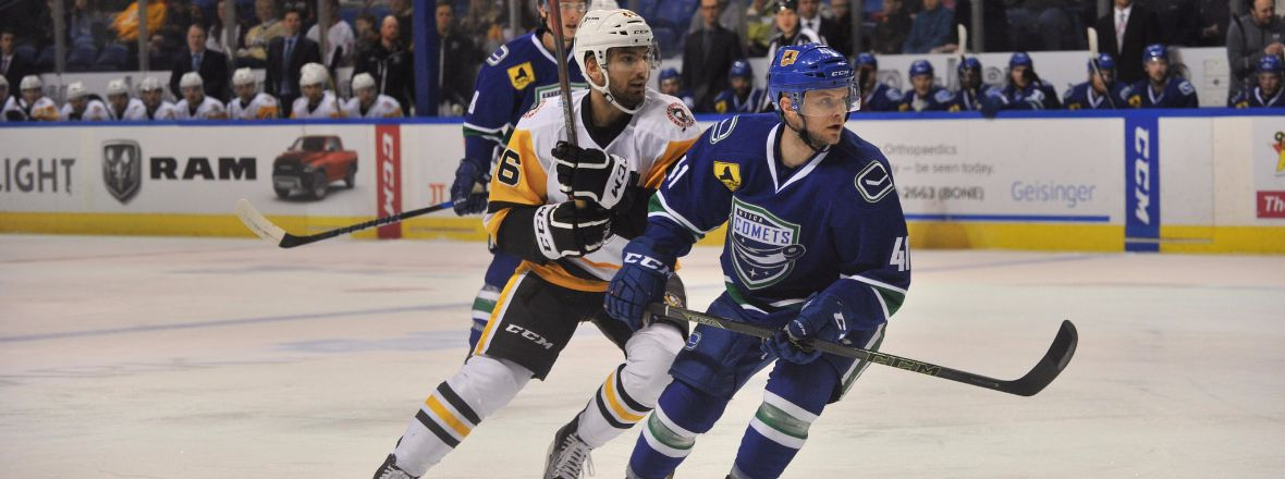 COMETS FIRE 46 SHOTS IN 2-1 LOSS TO PENGUINS