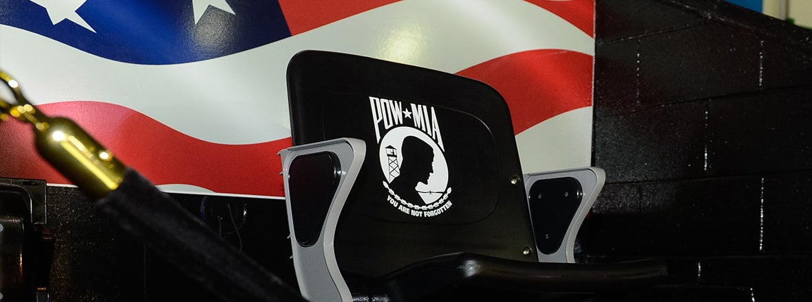 ADK BANK CENTER UNVEILS POW MEMORIAL CHAIR