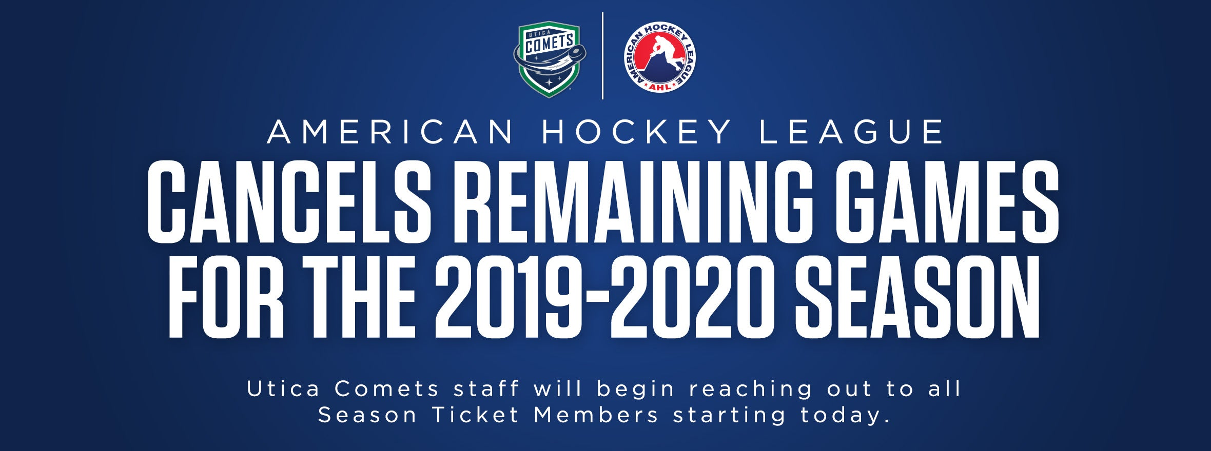 AMERICAN HOCKEY LEAGUE CANCELS REMAINDER OF 2019-20 SEASON