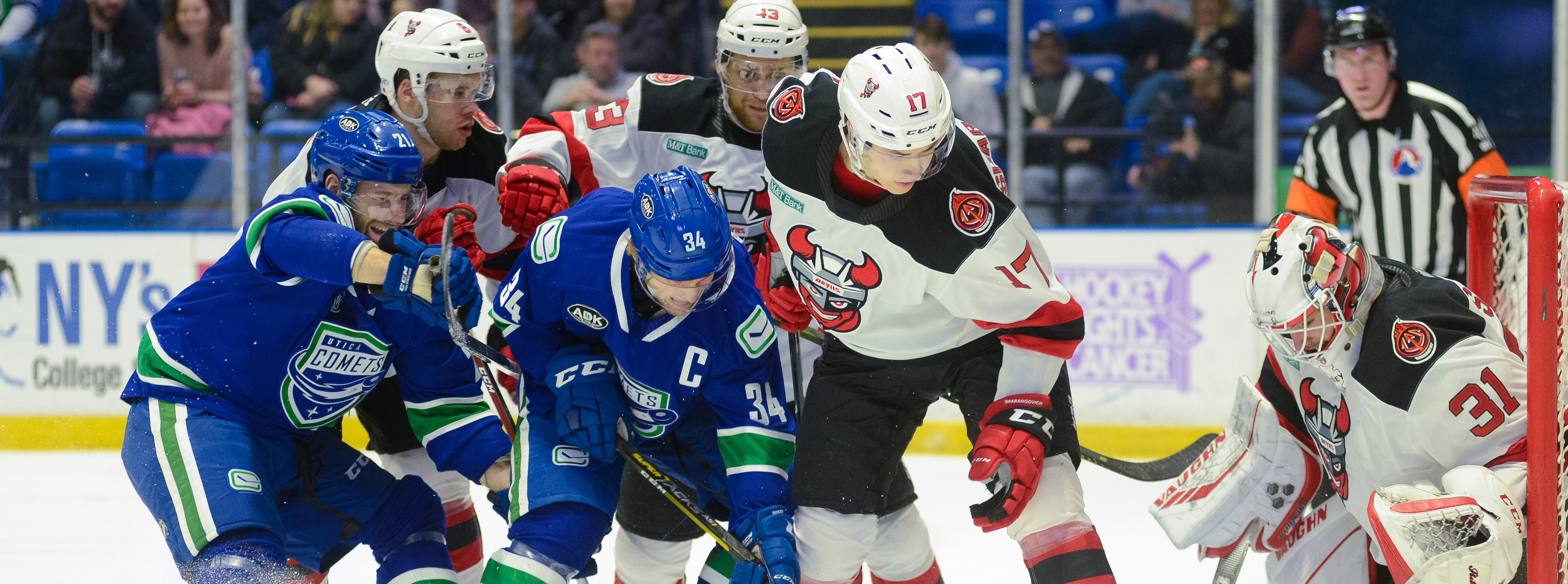 COMETS SQUANDER THREE-GOAL LEAD IN LOSS TO DEVILS