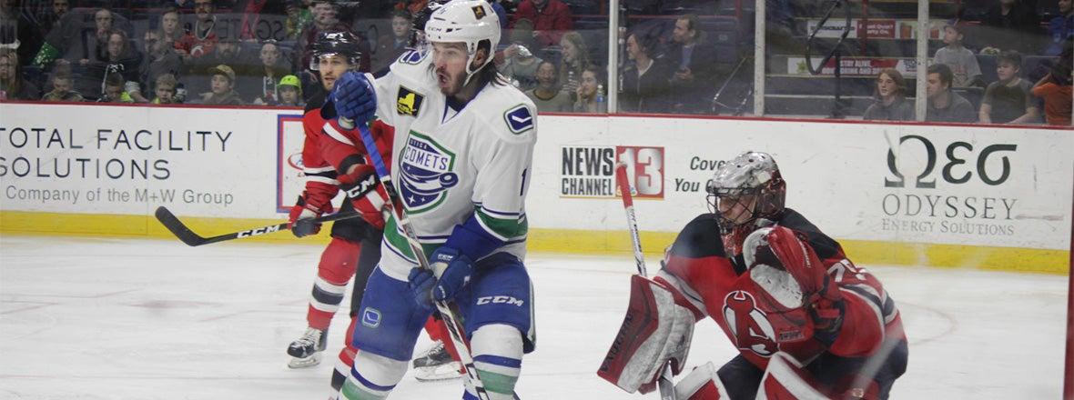 COMETS COME BACK IN THIRD PERIOD TO BEAT DEVILS